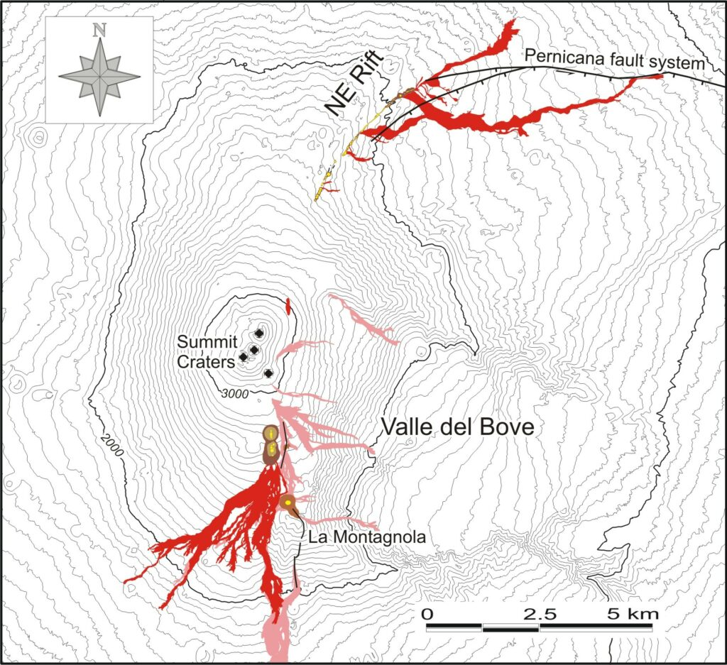 Map of the lava flows of October 2002 to January 2003