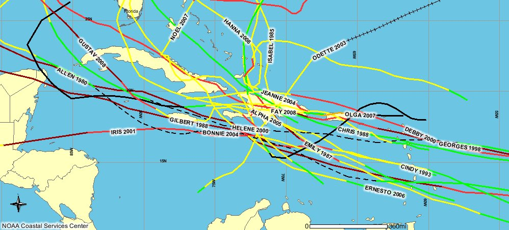 Hurricanes that have passed within 200 km of Port-au-Prince in the period since 1980