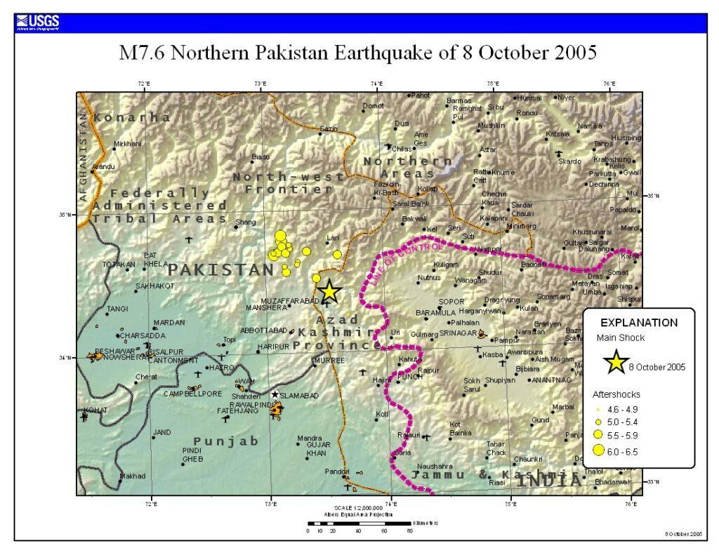 M7.6 Northern Pakistan Earthquake - 8 October 2005